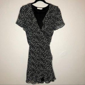 Lush Black and White Polka Dot Wrap Dress Large